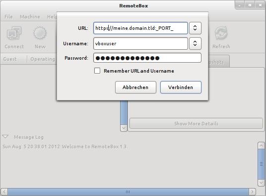 RemoteBox Login per https
