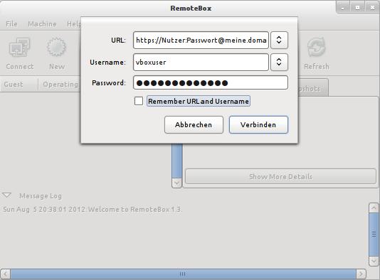 RemoteBox Login per HTTPS und Basic Auth